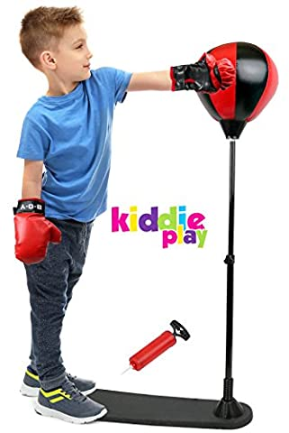 Kiddie Play Standing Boxing Set with Punching Ball and Gloves for Kids (Small) ()