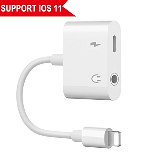 Lightning Jack Headphone Adaptor Charger for 8/8 Plus iPhone 7/7 Plus/iPhone X 10/iPad/iPod Earphone Adapter Headphone Aux Audio & Charge Adaptor,Connector Lightning Cable Suppor iOS 11 System