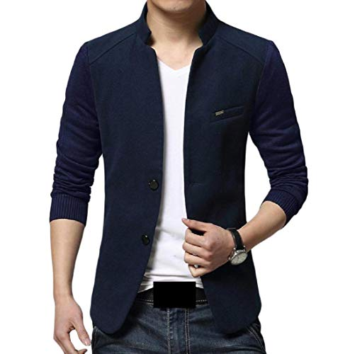 YUNY Mens Buckle Blazer Slim Fit Business Leisure Band Collar Suit Jacket Navy Blue - Collar Blazer Band
