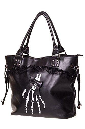 Banned - Damen Schultertasche Shopper Tasche - Black Skelleton (Schwarz)