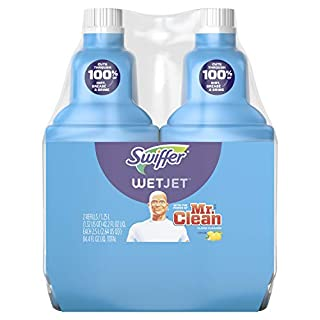 Swiffer Wetjet Hardwood Mopping & Cleaning Solution Refills, All Purpose Cleaning Product, with The Power of Mr. Clean, Lemon, 2Count, 1.25 L Each