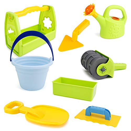 Liberty Imports Summer Beach Sand Toys Brick Building Tools Set - Kids Gardening Backyard Playset with Bricklayer, Sand Roller, Trowels, Shovels, Water Pot and Carrying Bucket
