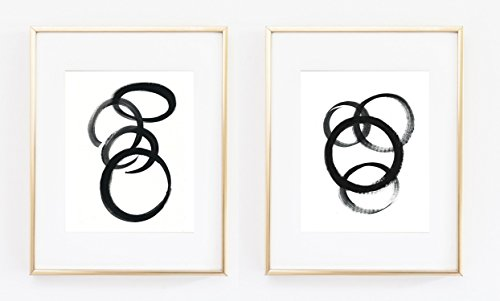 Duo set Circles Swirls Black and White Abstract Weakest Link Modern Acrylic Paint Hand Painted Color poster Home Decor 0033
