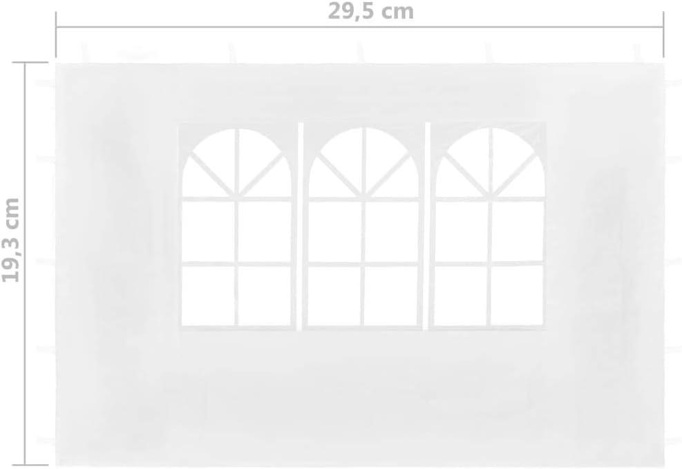 Tidyard 2xAccesorio Ideal para Carpa de Fiesta,Paredes Laterales con Ventana,Impermeable y Resistente a Los Rayos UV,Blanco 295x195cm
