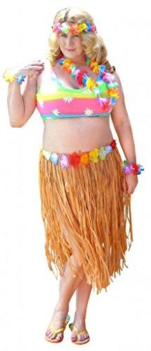 (Sanctuarie Designs Womens Hula /Top + Tan Skirt + Leis Economy Kit/ Dancer Plus Size Supersize Halloween)
