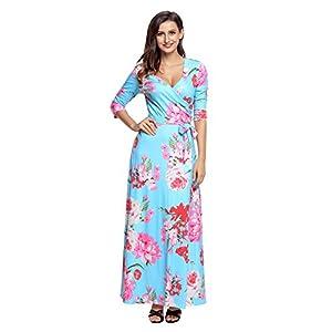 3f91420eaf9 XAKALAKA Women s Plus Size Sexy V Neck Long Boho Floral Print Wrapped Maxi  Dress size XXL (Cyan Floral)