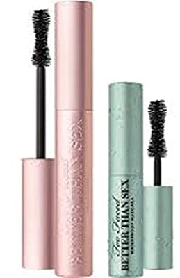 Too Faced Better Than Sex Mascara Duo Regular Full Size and Travel Sized Waterproof Set Sexy Lashes Rain or Shine