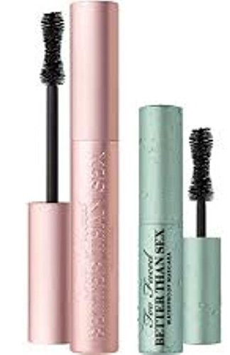 Too Faced Better Than Sex Mascara Duo Regular Full Size and Travel Sized Waterproof Set Sexy Lashes Rain or Shine by Too Faced