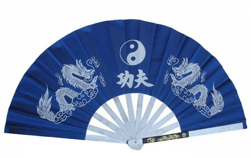 NuoYa001 Training Fans Kung Fu Martial Arts TaiChi Steel Frame Fan W Dragon Blue
