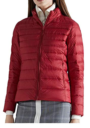 Cromoncent Women's Thin Stand Collar Lightweight Casual Quilted Zip Down Outerwear Coats Jacket 1 XXS by Cromoncent