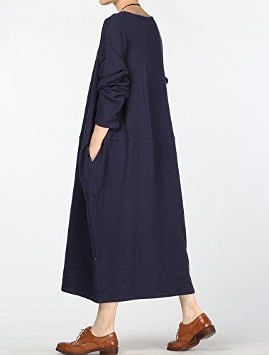 Vogstyle - Vestido - vestido - para mujer Style 3-Long Sleeve Navy
