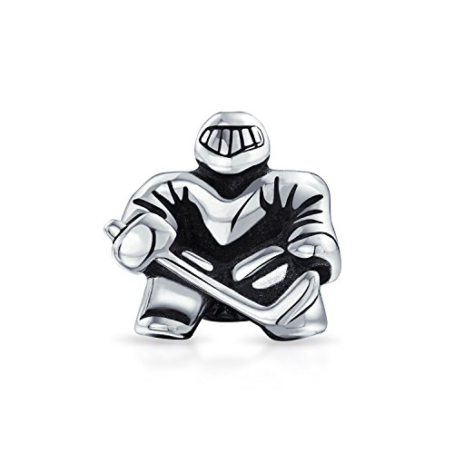 Ice Hockey Sports Charm (Bling Jewelry Ice Hockey Goalie Sports Bead Charm .925 Sterling Silver)