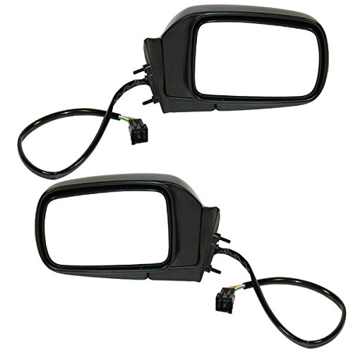 (Koolzap For 92-95 Caravan Power Black Folding Rear View Door Mirror Left Right Side SET PAIR)