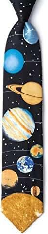 Solar System Black Microfiber Tie