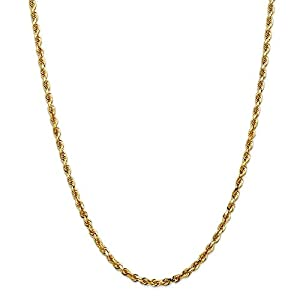 14ct Yellow Gold 4mm D/C Quadruple Rope Chain Necklace 18 inch for Men Women
