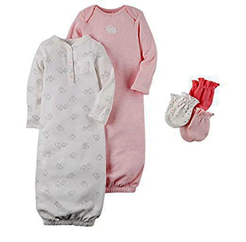 Carters Baby Sleepbag and Mitten Layette Gift Set Pink Bunny 3 (Carters Gown Set)