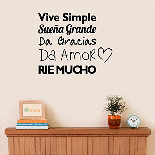 Bluegiants Vinyl Wall Statement Family DIY Decor Art Stickers Home Decor Wall Art Spanish Vive Simple Suena Grande Da Gracias Da Amor RIE Mucho Home Décor ()
