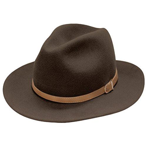 (City Hunter Pmw91 Wide Brim Wool Felt Fedora Hat -3 Colors (Small-Medium, PMW90N Brown))