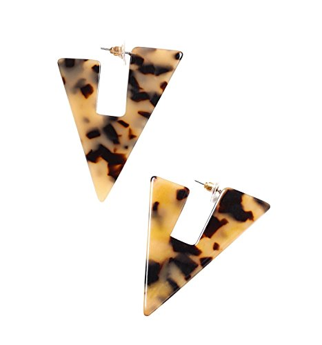 ISALOE Statement Triangle Acrylic Hoop Earrings Geometric Floral Resin Triangle Drop Earrings Fashion Jewelry (Leopard floral) (Leopard Top Triangle)