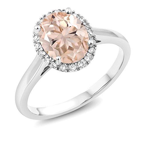 Gem Stone King 1.60 Ct Oval Peach Morganite 10K White Gold Ring (Size 6)