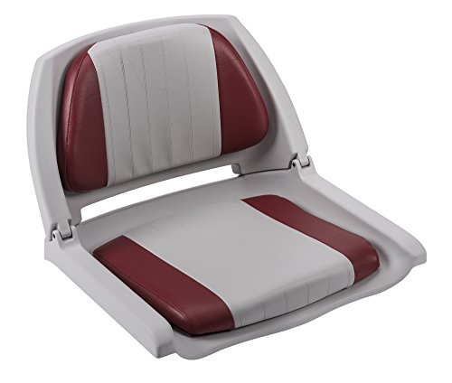 (Wise Plastic Folding Boat Seat with 2 Color Cushions (Grey/Red))