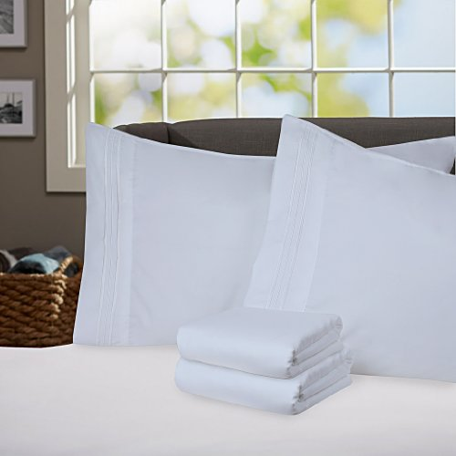 Sweet Home Collection Supreme 1800 Series 4Pc Bed Sheet Set Egyptian Quality Deep Pocket   Full  Light Blue