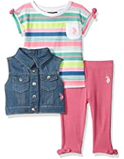U.S. POLO ASSN. Baby-Girls 5915 3 Piece Striped T-Shirt, Vest, and Legging Set Layette Set - Multi