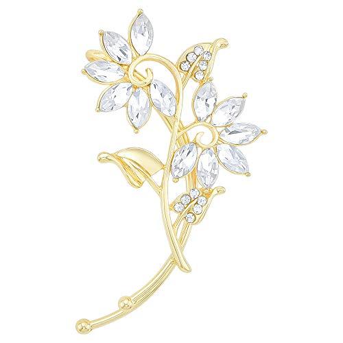 Chic Jewelry Gold-Tone Clear Crystal Art Deco Lotus Flower Cluster Ear Wrap Ear Cuff Earring