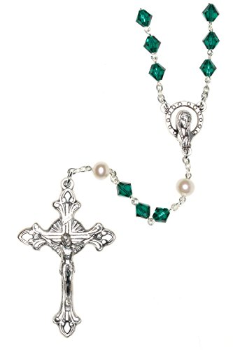Catholic Prayer Rosary Made with Emerald Green & White Pearlized Swarovski Crystals (May) - Communion, Confirmation, RCIA, Christmas, Birthday & More