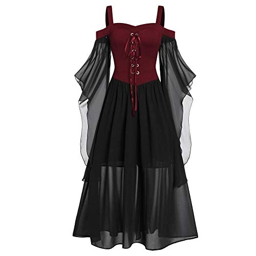 GWM Halloween Decorations, Halloween Party Props, Womne Plus Size Cold Shoulder Butterflies Sleeve Lace Up Gothic Style Halloween Dress Halloween Dress