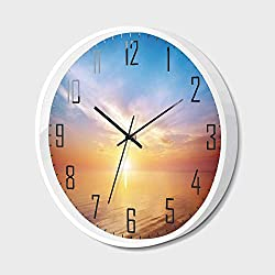 Silent Wall Clock Non Ticking Metal Frame HD Glass Cover,Sunrise Decor,Magical Horizon Seascape Bay Ocean Coastal Charm Sky Tranquil Summer Image,for Living Room, Bedroom,Office,14inch