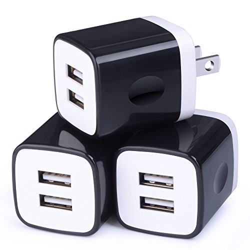 USB Wall Charger,USB Cubes,Sicodo 3-Pack Universal Travel 2.1A Dual Port Plug Charging Block Compatible with iPhone X 8,7 Plus,6 Plus,Tablet, Samsung Galaxy S8 Plus, S7 S6 Edge, HTC, LG, Sony, Nokia
