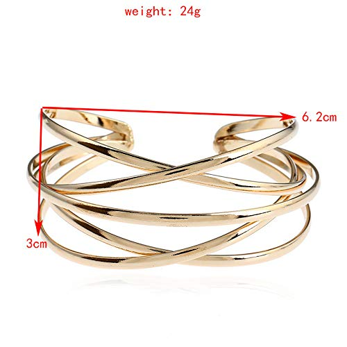 Dwcly Multi-Layer Cross Wire Bangle Hollow Out Retro Ethnic Puck Adjustable Open Charm Bracelet