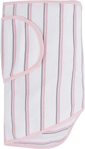 Miracle Blanket Swaddle for Baby Girls, Pink and Grey Stripes
