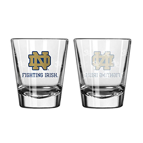 Boelter Brands NCAA Notre Dame Fighting Irish Shot GlassSatin Etch Style 2 Pack, Team Color, One Size