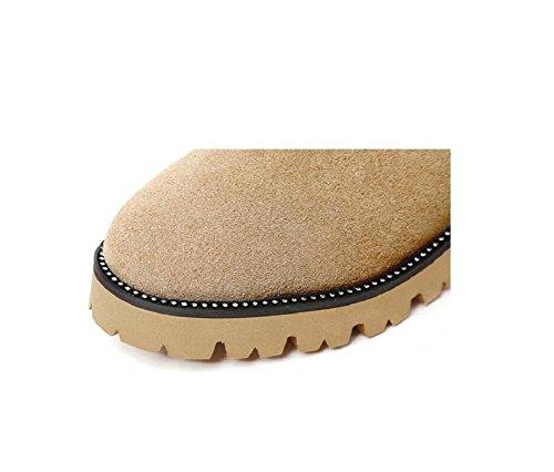 Grandi scarpe stivali donna cotone imbottito con suola spessa Scarpe Flat Martin stivali neve ragazza breve , khaki , 40