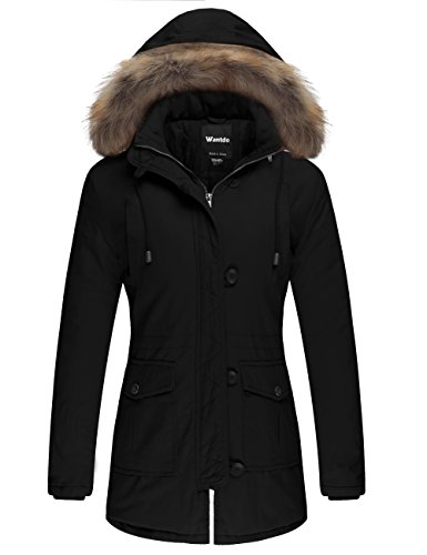 Wantdo Women's Cotton Padded Parka Coat with Removable Fur Hood (Black, US (Heavyweight Hooded Parka)