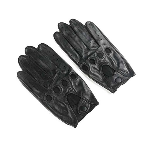 Men's Full Finger Soft Lambskin Leather Lined Gloves Handsome Driving Locomotive Mittens Autumn And Winter New Fitness Cycling Hunting Outdoor Riding Gloves ( Color : Black , Size : XL - Gloves Lambskin Silk