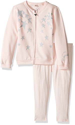 GUESS Little Girls' Long Sleeve Furry Cardigan and Legging Set, Neutral Pink, 3