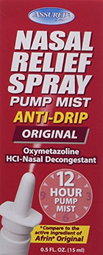 Assured Nasal Relief Spray, 12 Hour Pump Mist Oxymetazoline HCL, 0.5 fl. Oz, 12 Pack