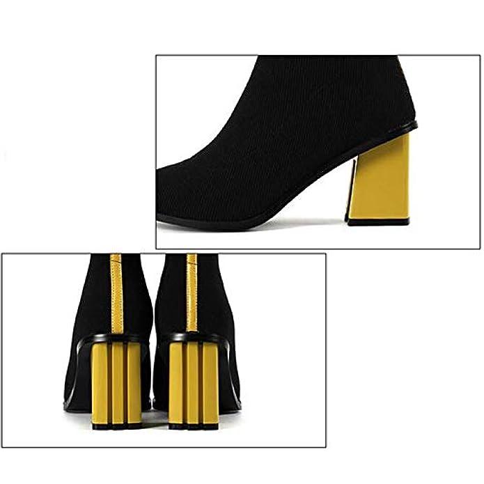 Yiwu Stivali Autunnali Donna Nuovi Elastici Calze Martini Con Tacco Alto Corti colore Yellow Size Eu36 uk4 cn36