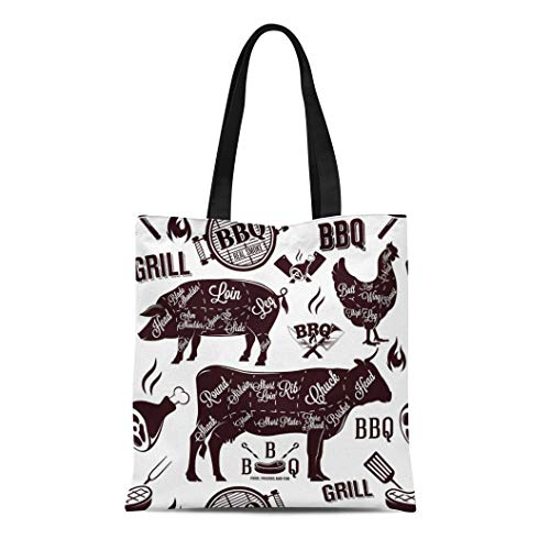 Semtomn Canvas Tote Bag Beef Meat Cuts and Barbecue Brisket Butcher Cow Organic Durable Reusable Shopping Shoulder Grocery Bag