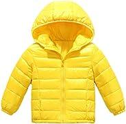 Elikidsto Boys Girls Winter Puffer Down Hooded Jacket Baby Toddler Lightweight Coat 1-8Y