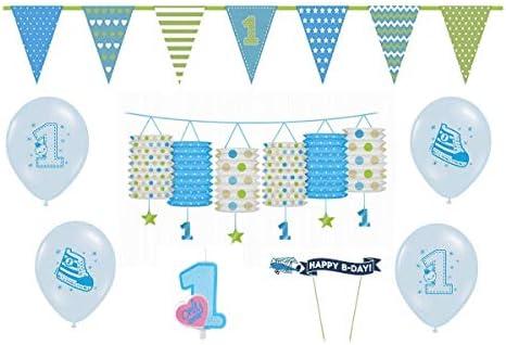 8 piezas Set de fiesta Primer Cumpleaños (1.) para niño azul ...