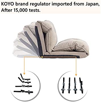 Adjustable Folding Sleeper Couch Bed and Lazy Sofa with 2 Pillows for Living Room,Bedroom Beige Macaw Floor Sofa Bed