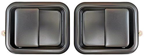 PT Auto Warehouse CH-3833S-DP - Outside Exterior Outer Door Handle, Smooth Black - Full Size Doors, Left/Right Pair