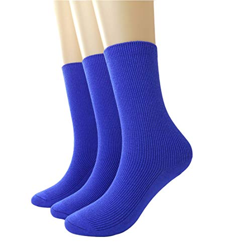 BLACOCO Women's Pure Color Simple Sock Soft Comfort Casual Cotton Crew Socks (Royal Blue)]()
