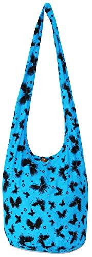 Bohemian Crossbody Hippie Bag Boho Hipster Hobo Shoulder Turquoiseblue Butterfly BaF6xa