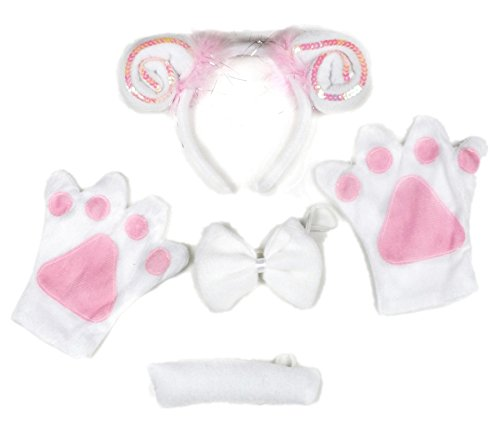 Petitebella Pink Sequins Sheep Headband Bowtie Tail Gloves 4pc Costume ()