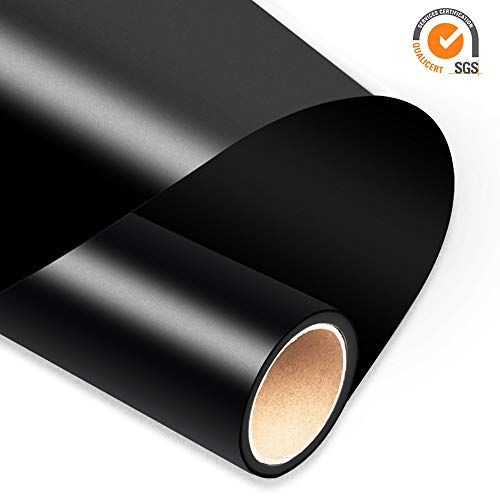 TransWonder Heat Transfer Vinyl HTV Rolls for T Shirts 12in.x10ft. ? Easy Weed Iron on Printable Vinyl Compatible for Cameo Silhouette & Cricut(Black)